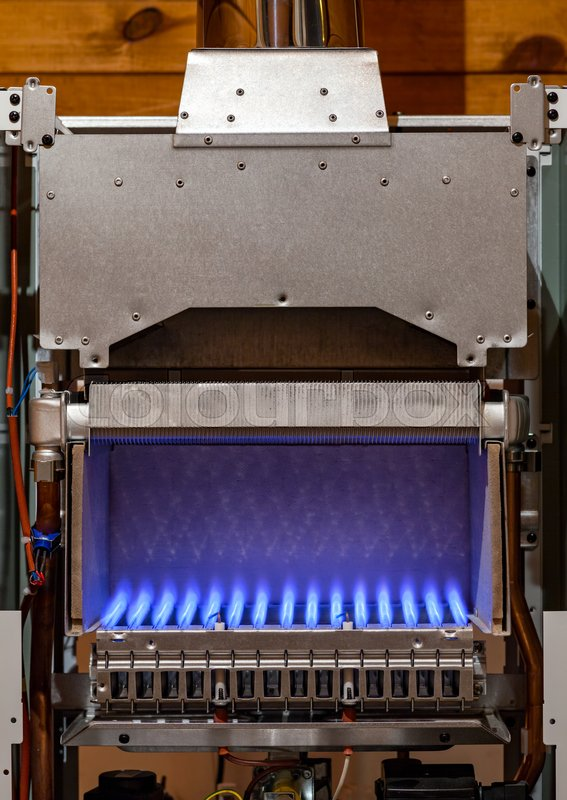 Gas Flame Inside Of The Gas Boiler Furnace Stock Photo