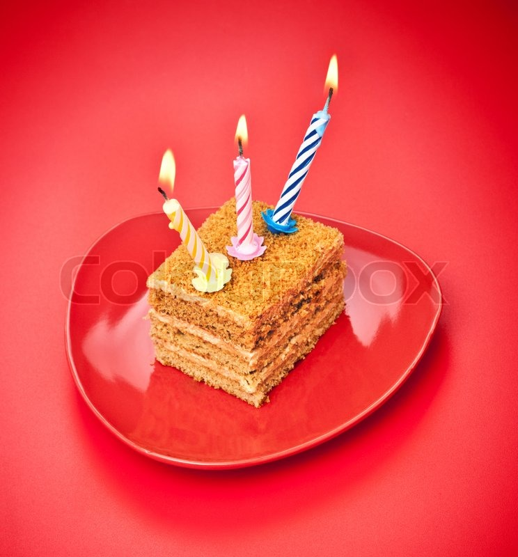 Birthday Cake With Candle On Pink Stock Photo Colourbox