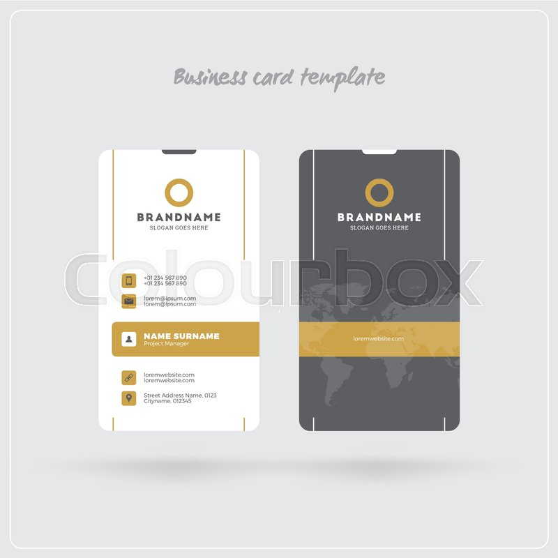 Golden and gray vertical business card print template double sided double sided personal visiting card with company logo clean flat design rounded corners vector illustration business card mockup with shadows vector reheart Images