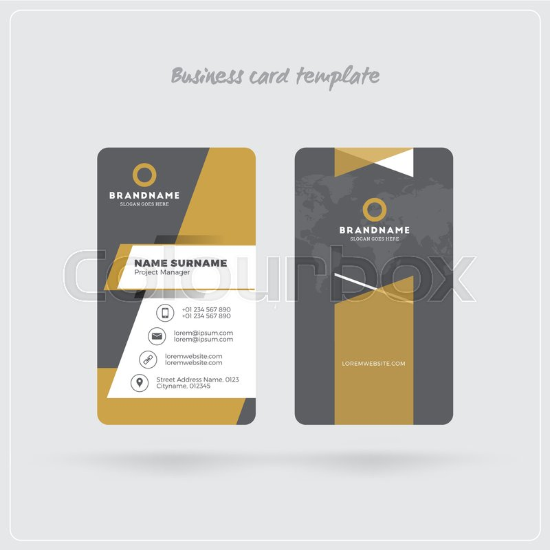 Golden and gray vertical business card print template double sided golden and gray vertical business card print template double sided personal visiting card with company logo clean flat design rounded corners reheart Choice Image