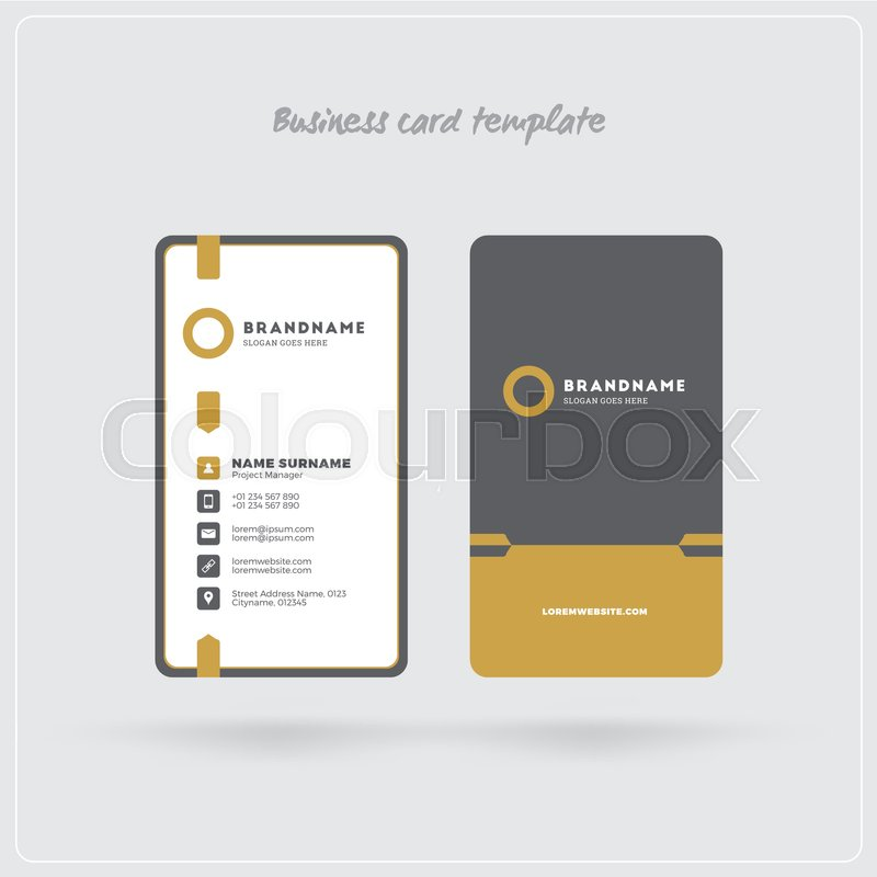 Golden and Gray Vertical Business Card Print Template. Double ...