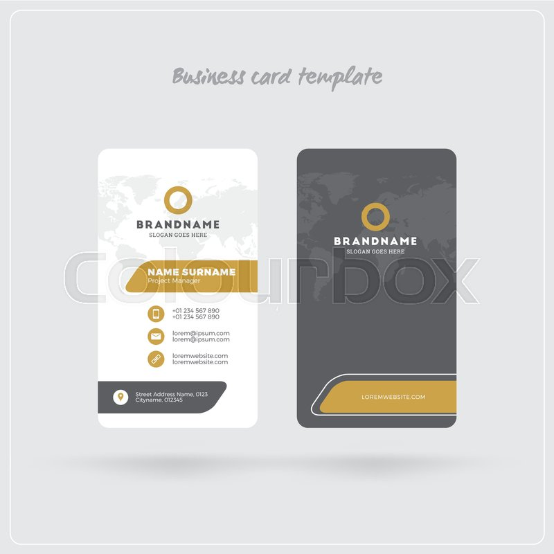 Golden And Gray Vertical Business Card Print Template Double - Rounded corner business card template