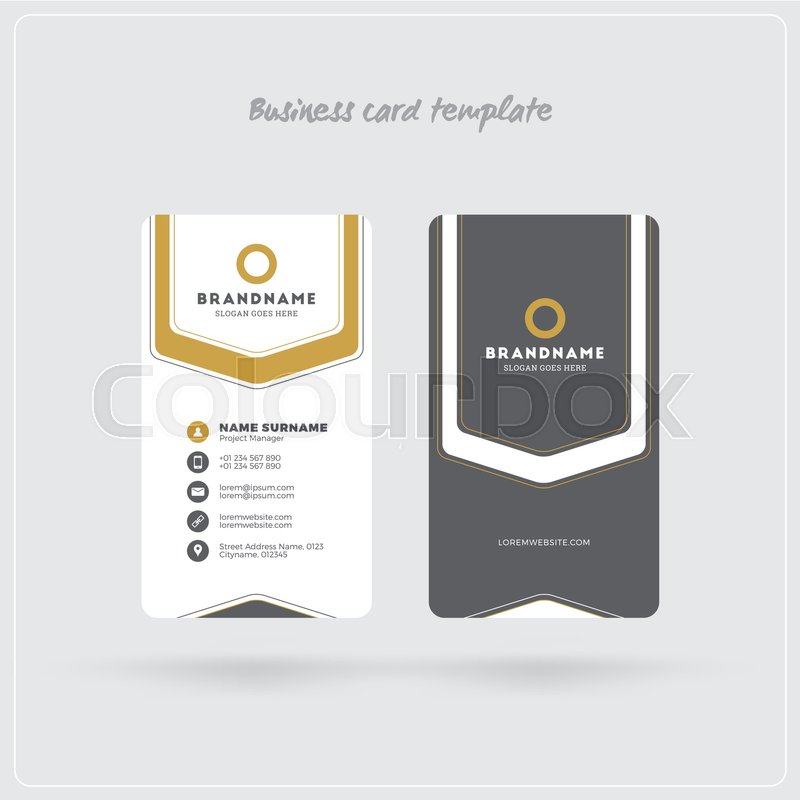 Golden and gray vertical business card print template double sided double sided personal visiting card with company logo clean flat design rounded corners vector illustration business card mockup with shadows stock reheart Image collections
