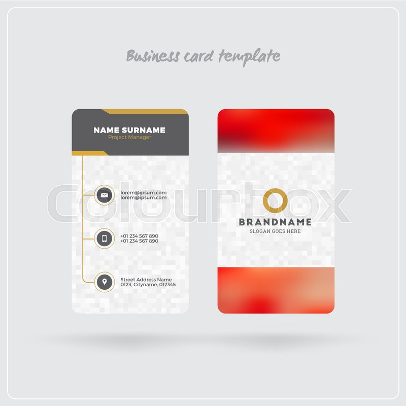 Golden and gray vertical business card print template double sided golden and gray vertical business card print template double sided personal visiting card with company logo clean flat design rounded corners reheart Image collections