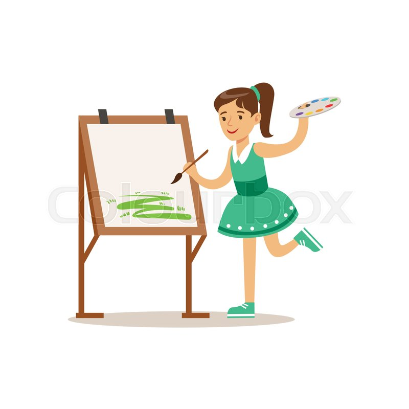 girl painting creative child practicing arts in art class kids and creativity themed illustration flat cartoon vector character demonstrating creative - Cartoon Painting For Kids
