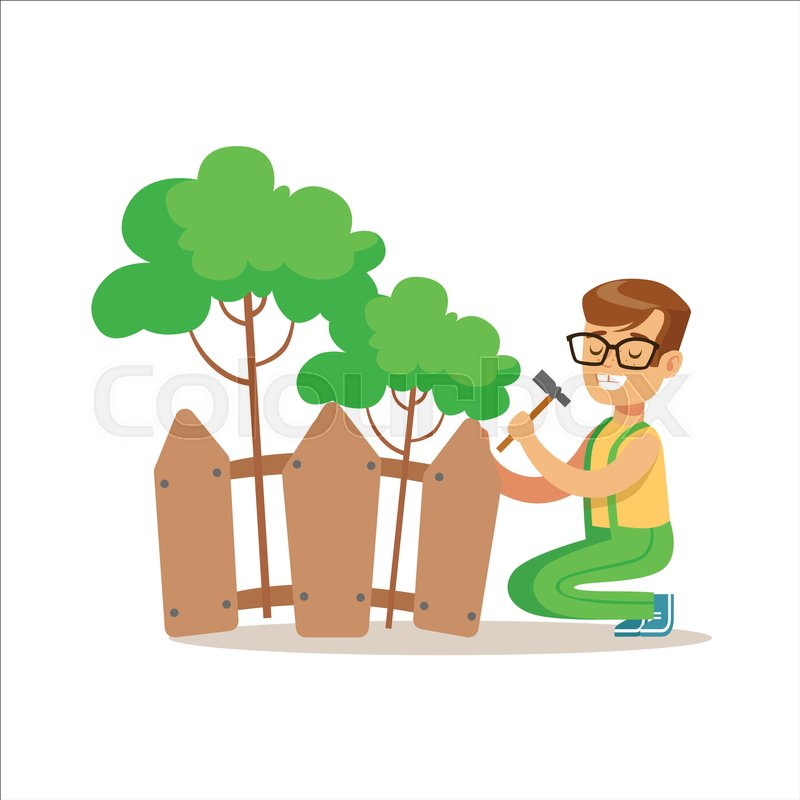 Boy Building Wooden Fence Around Plants Helping In Eco Friendly Gardening  Outdoors Part Of Kids And Nature Series. Happy Child Interacting With  Nature And ...