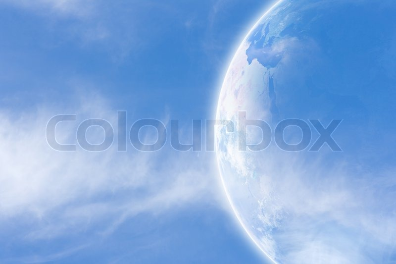 Idyllic peaceful view, planet Earth in space, stock photo