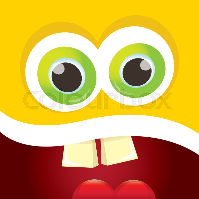 vector orange funny monster face cartoon monster smiling face for