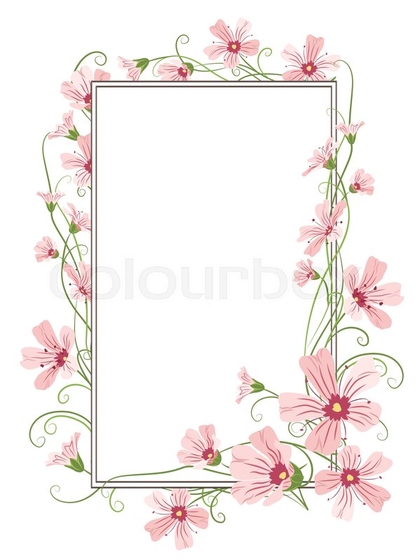 gypsophila pink purple flowers tangled garland elements rectangular
