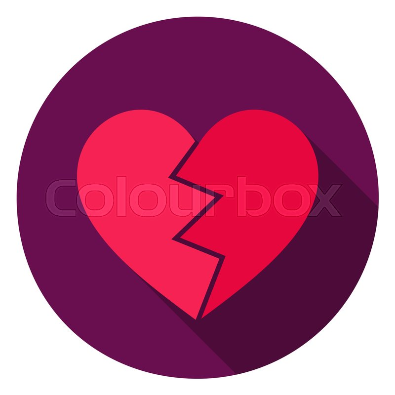 Broken Heart Circle Icon Flat Design Vector Illustration With Long
