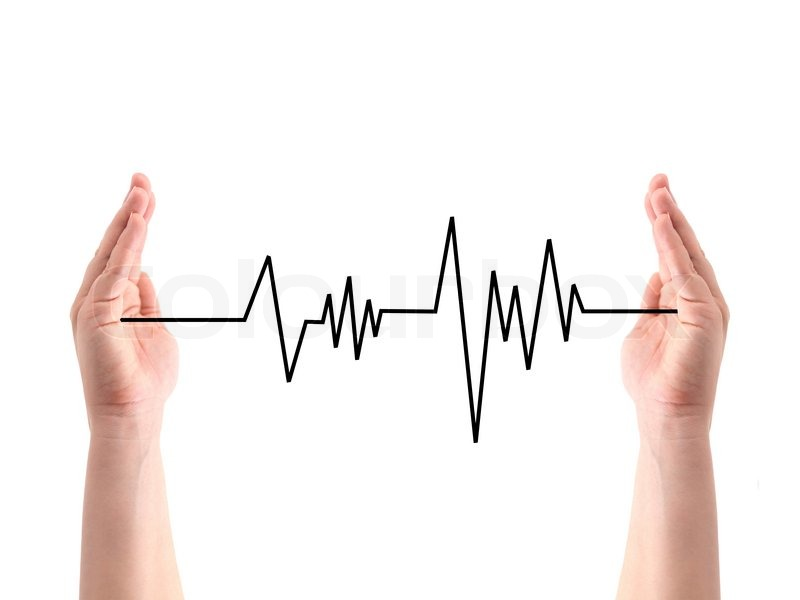 Drawing Lines Between Text Boxes : A heart rate line between two hands stock photo colourbox