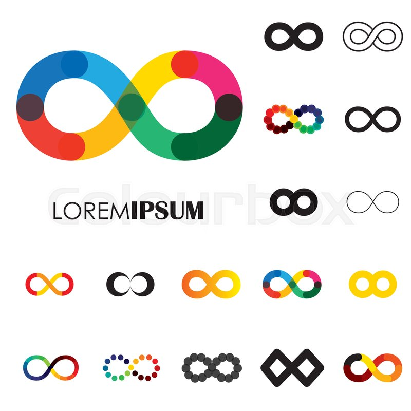 Collection Of Infinity Symbols Vector Logo Icons This Set Of Signs Can Also Represent Concept Of Continuum Boundless And Limitless Illusion Of