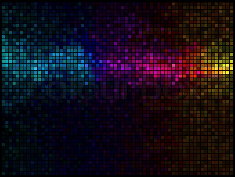 Multicolor abstract lights disco background. Square pixel mosaic ...: colourbox.com/vector/multicolor-abstract-lights-disco-background...
