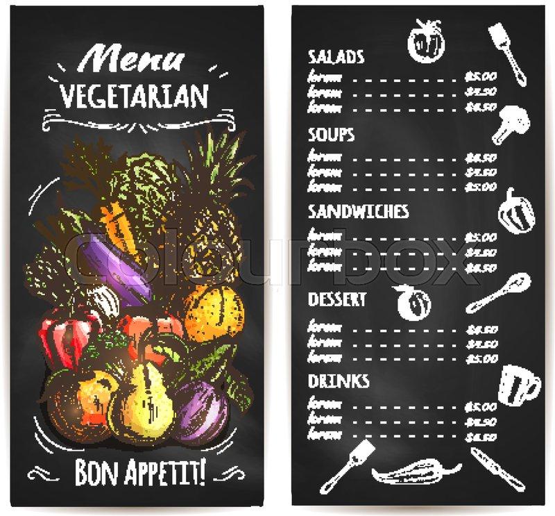 vegetarian menu of vegetables  fruits  vector chalk sketch