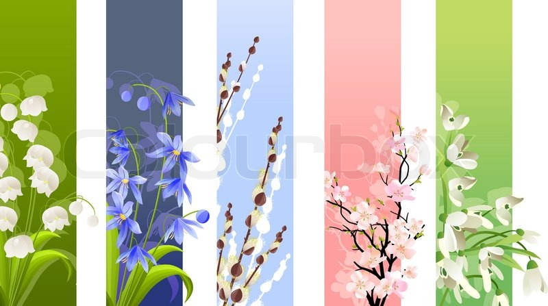 Five vertical banners with spring flowers different colours and five vertical banners with spring flowers different colours and flowers vector mightylinksfo
