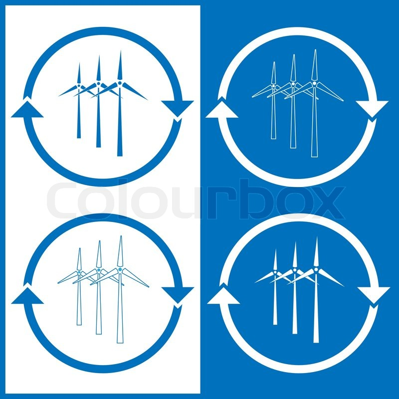 Stock vector of 'Vector wind turbine icons'