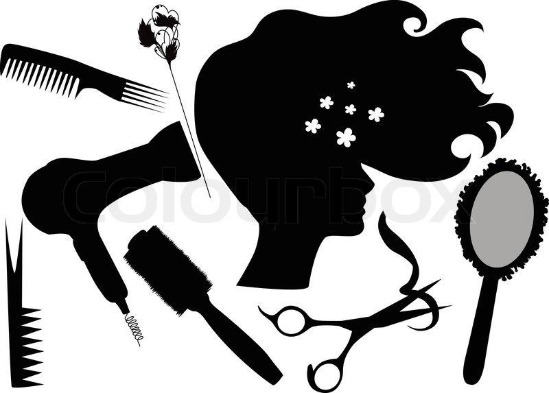 """Fashionable hairdress the hairdresser the hair dryer a hairbrush scissors"" | Stock Vector ..."