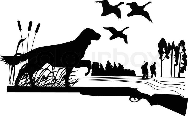 Quot Dogs Of A Duck Hunt Nature A Vector Stock Vector