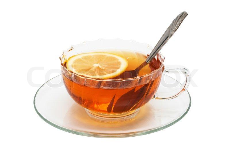 glas tasse mit tee und zitrone auf einem wei en hintergrund stockfoto colourbox. Black Bedroom Furniture Sets. Home Design Ideas