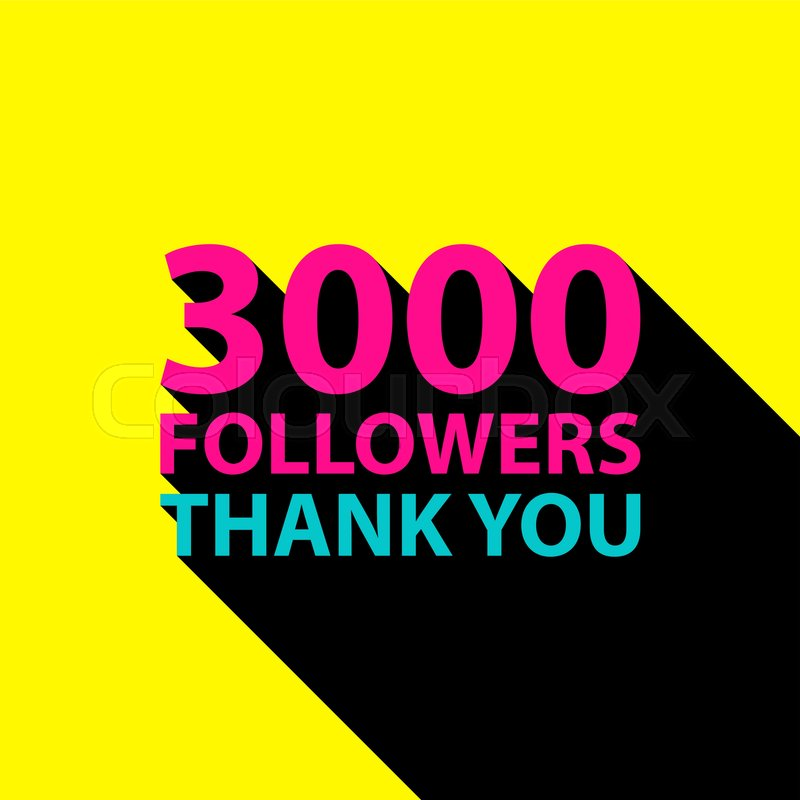 3000 followers, Thank You card template for social networks ...