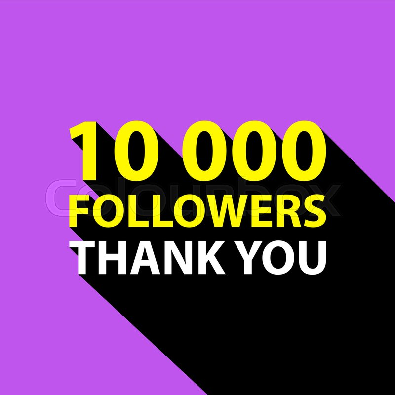 10000 followers, Thank You card template for social networks ...