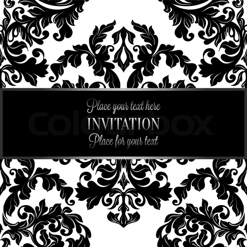 Baroque Background With Antique Luxury Black And White Vintage Frame Victorian Banner Damask Floral Wallpaper Ornaments Invitation Card Style