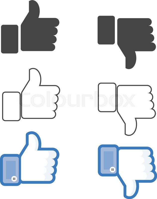 Like And Dislike Icon In Flat And Outline Style Thumbs Up Or Down