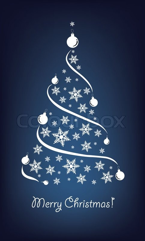 Christmas tree decoration blue and silver - Abstract Christmas Tree On The Blue Background Vector