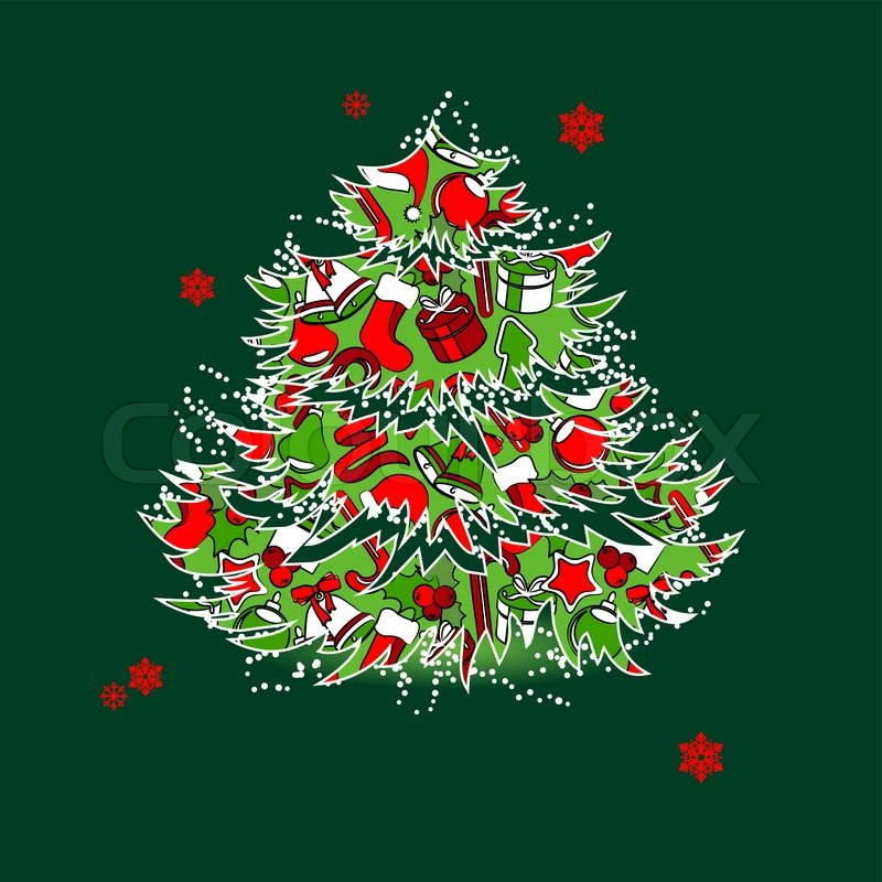 christmas tree with garland isolated on white background stock vector colourbox - Christmas Tree With Garland