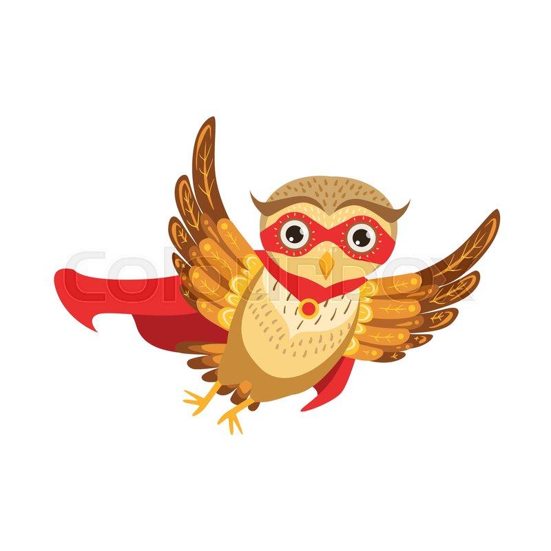 owl superhero cute cartoon character emoji with forest