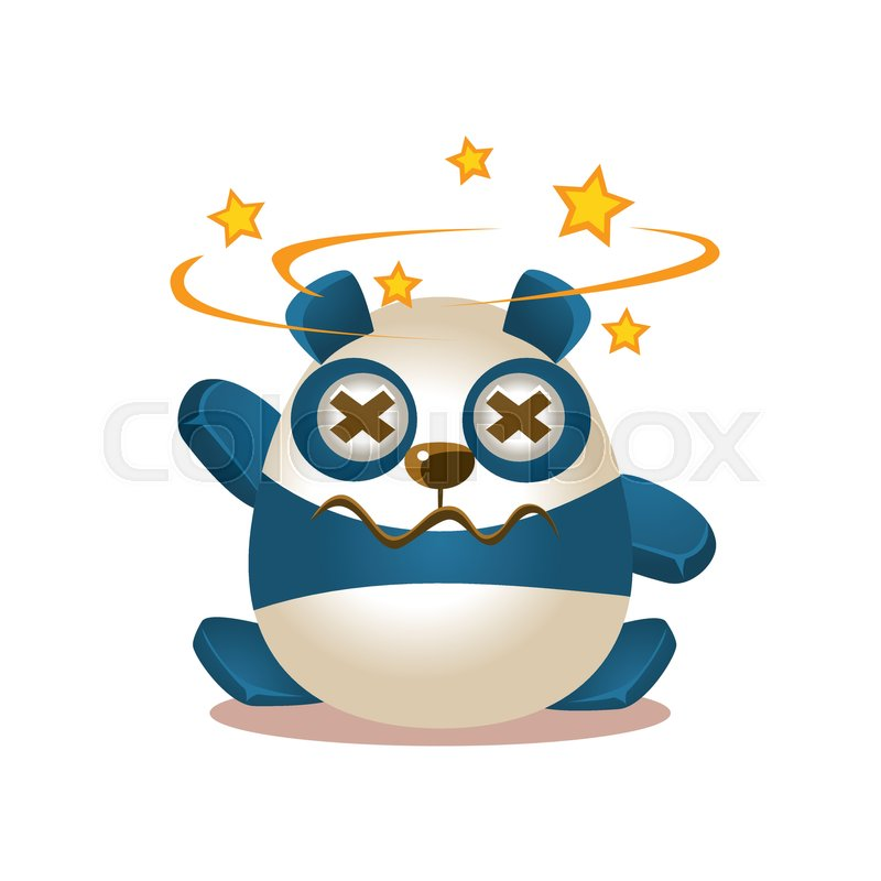 Cute Panda Activity Illustration With Humanized Cartoon Bear Character  Seeing Stars Before Eyes. Funny Animal In Fantastic Situation Vector Emoji  Drawing, ...