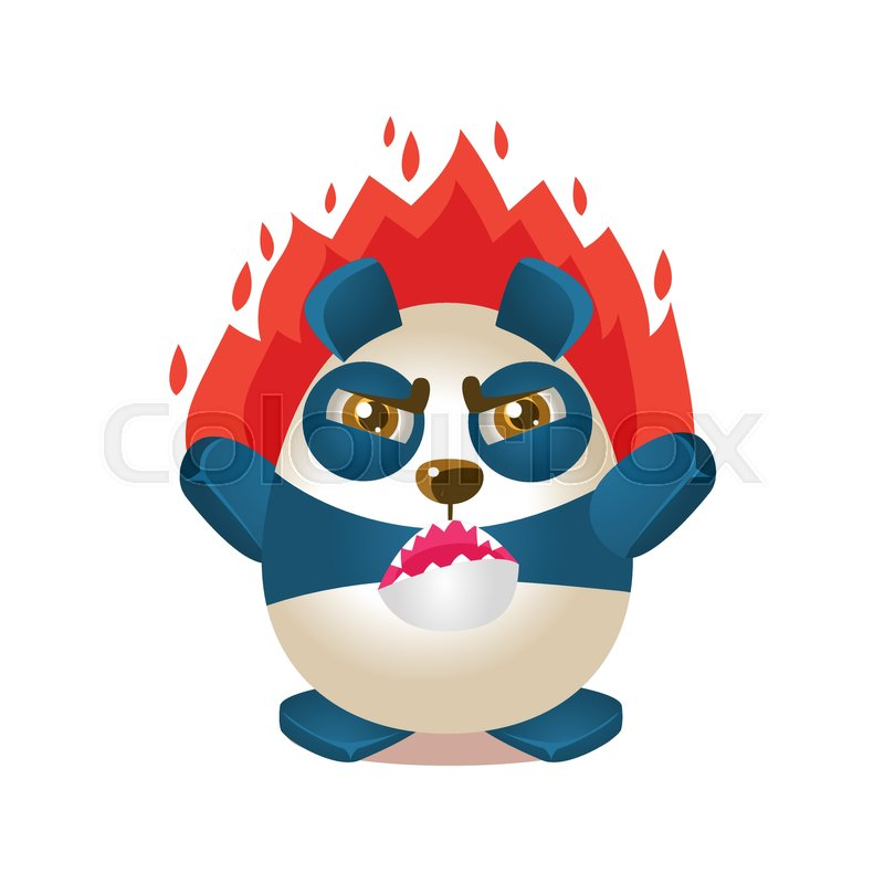 Cute Panda Activity Illustration With Humanized Cartoon Bear Character On  Fire With Anger. Funny Animal In Fantastic Situation Vector Emoji Drawing.