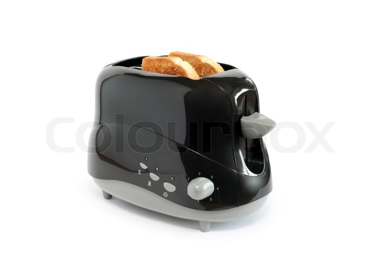 Inside Of A Toaster ~ Two toasts inside black toaster on white background