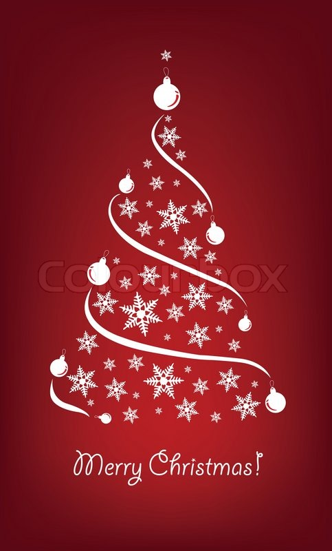 Christmas Red Background With Christmas Trees Stock