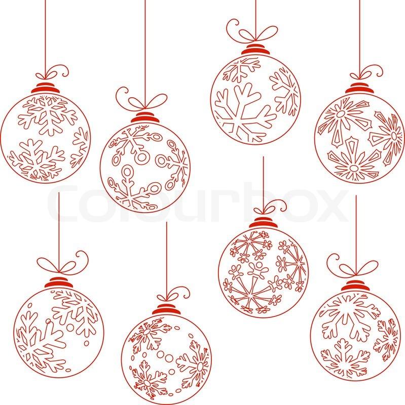 sammlung von kontur weihnachtskugeln isoliert auf wei. Black Bedroom Furniture Sets. Home Design Ideas