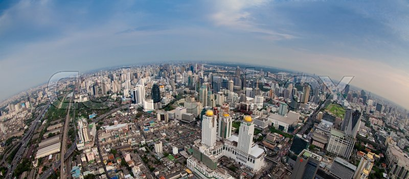 Panorama city scape in Bangkok,Thailand, stock photo