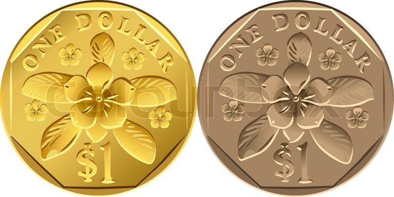 Vektor Singapur Dollar Münzen Aus Verschiedenen Metallen Gold