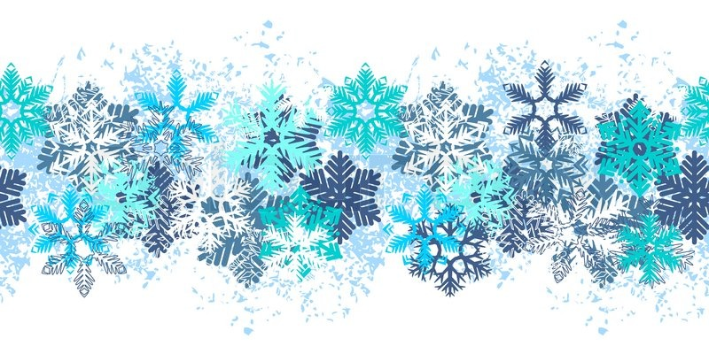 seamless blue border with different snowflakes on white stock