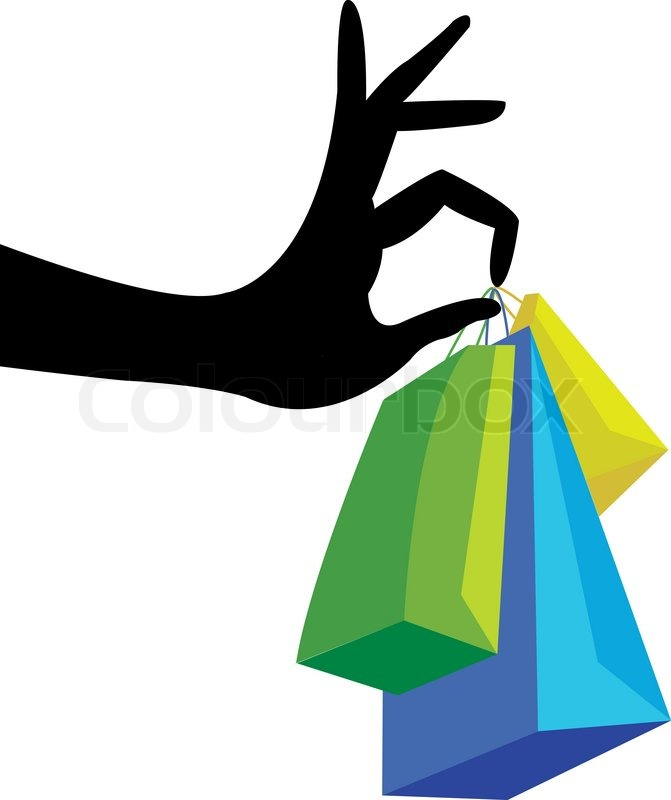 Hand with shopping bag | Stock Vector | Colourbox