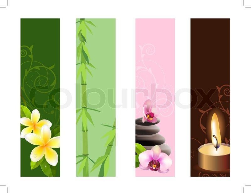 Collection Of Vertical Banners With Orchids Stones And