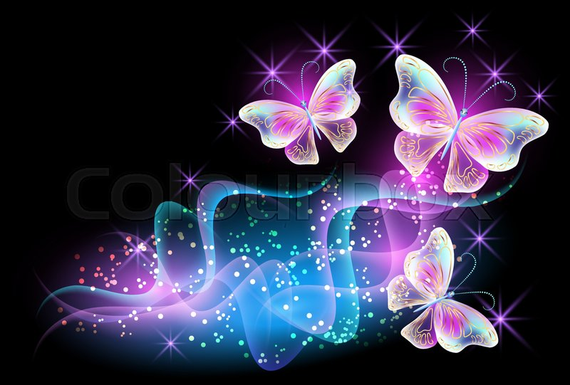Neon Butterfly Desktop Background: Fireworks And Glowing Magical ...