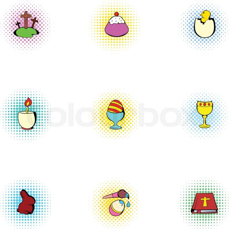 Holiday Easter icons set. Pop-art illustration of 9 holiday Easter vector icons for web, vector