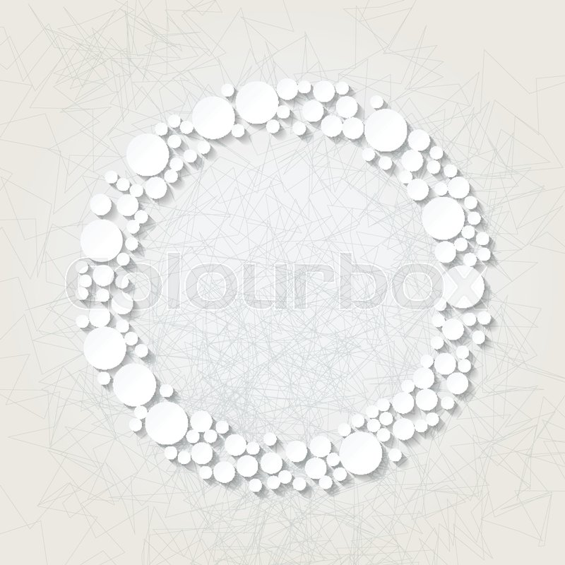 Minimalistic background with white origami circular frame. Eps10 ...