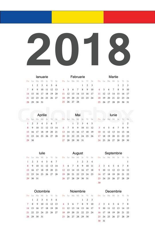 simple romanian 2018 year vector calendar week starts from sunday stock vector colourbox