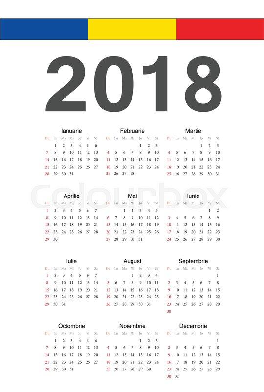 simple romanian 2018 year vector calendar week starts from sunday stock vector colourbox