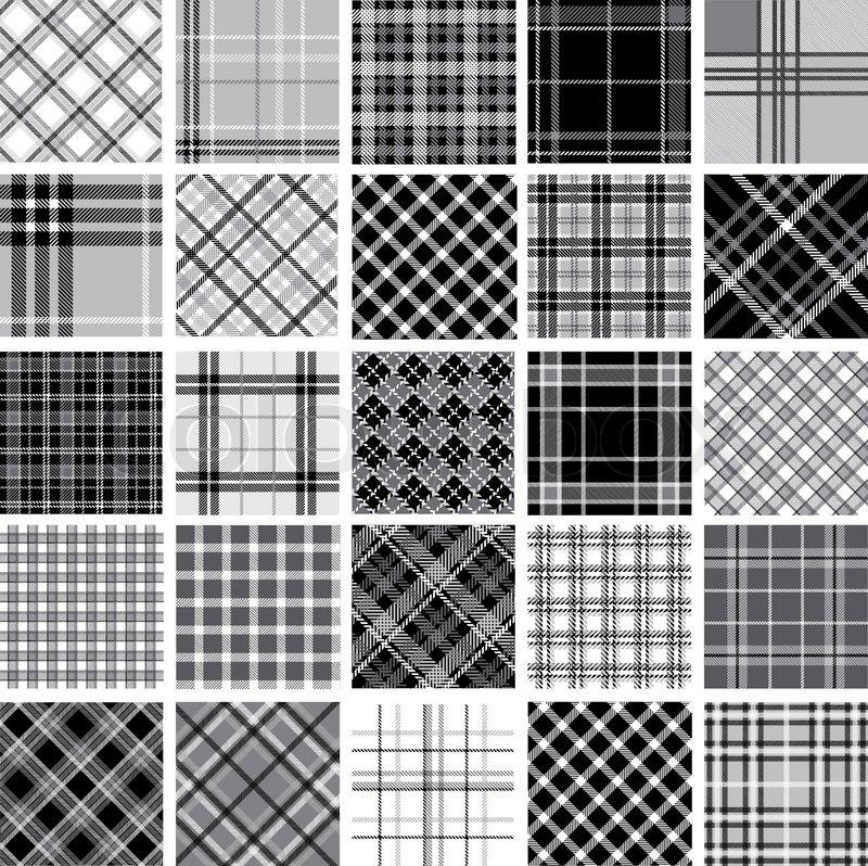 big black white plaid patterns set stock vector colourbox