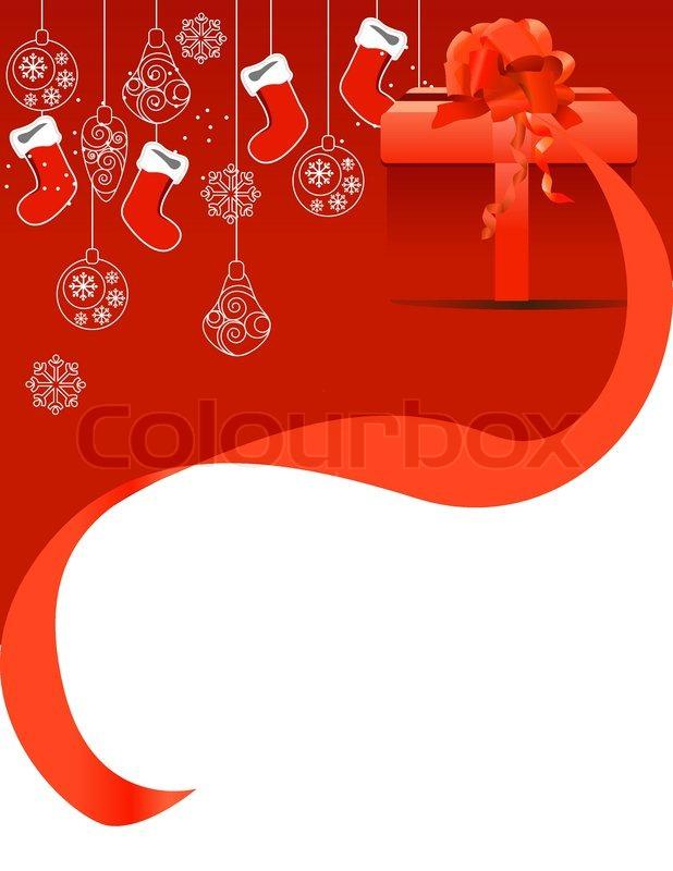 weihnachts gru karte mit geschenk box und h ngen von santa. Black Bedroom Furniture Sets. Home Design Ideas