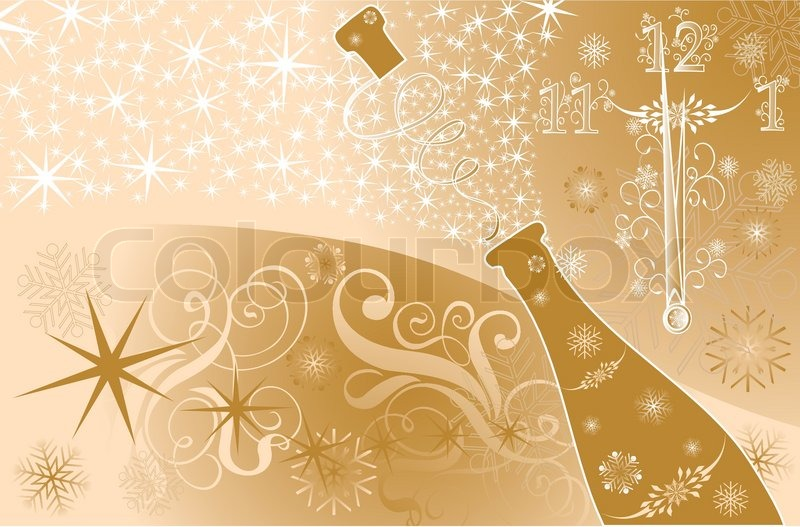 new years background with clock and sparks of a champagne vector illustration stock vector colourbox