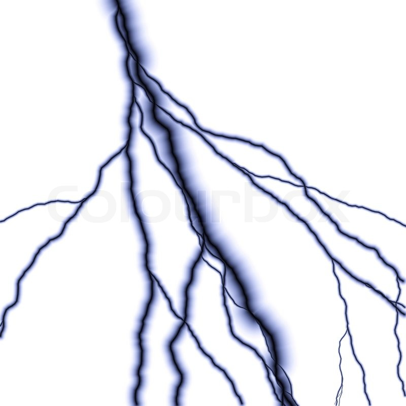 Stock image of 'Bolts of lightning isolated over a white background'