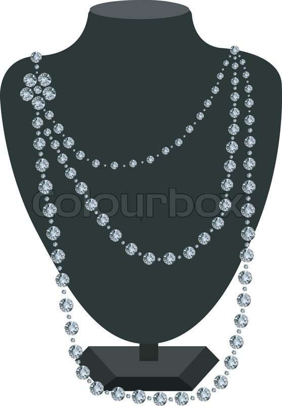 Diamond Necklace On A Black Mannequin Stock Vector